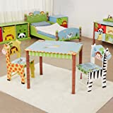 Fantasy Fields - Sunny Safari Thematic Hand Crafted Kids Wooden Table and 2 Chairs Set Imagination Inspiring Hand Crafted & Hand Painted Details Non-Toxic, Lead Free Water-based Paint