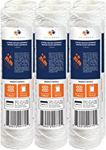 """Aquaboon 1 Micron 10"""" x 2.5"""" String Wound Sediment Water Filter Cartridge 