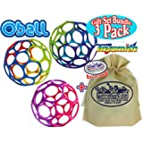 """Oball 4"""" Classic Rainbow, Pink/Purple & Blue/Purple/Green Balls Gift Set Bundle with Exclusive """"Matty's Toy Stop"""" Storage Bag - 3 Pack"""
