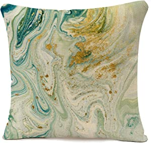 oFloral Throw Pillow Cover Watercolor Marbled Blue Green and Golden Abstract Liquid Marble Pattern Gold Ink Decorative Pillow Case Home Decor Square 18x18 Inches Pillowcase