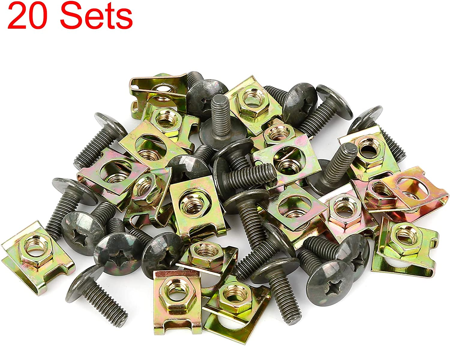 X AUTOHAUX 20 Sets 6x16mm U Clip Phillips Screw Assortment Kit Car Clips Fasteners with Screws for Bumper Dash Door Panel Interior Army Green Gold Tone