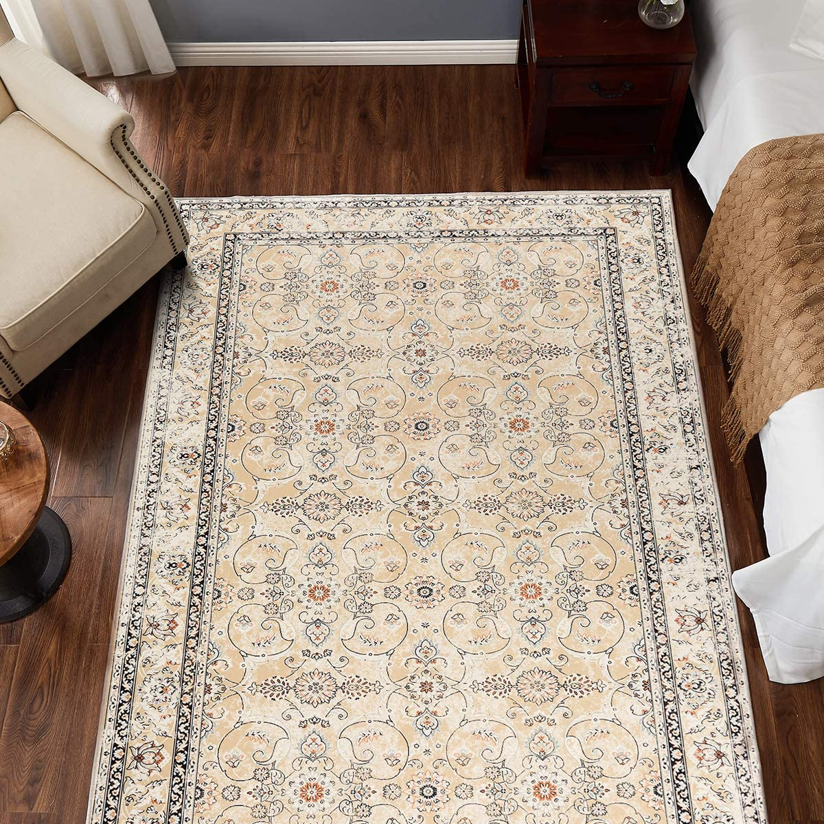 """jinchan Persian Traditional Area Rug for Kitchen Floorcover Soft Floral Printed Indoor Low Pile Mat for Bedroom Living Room 4'x 6'7"""" Yellow"""