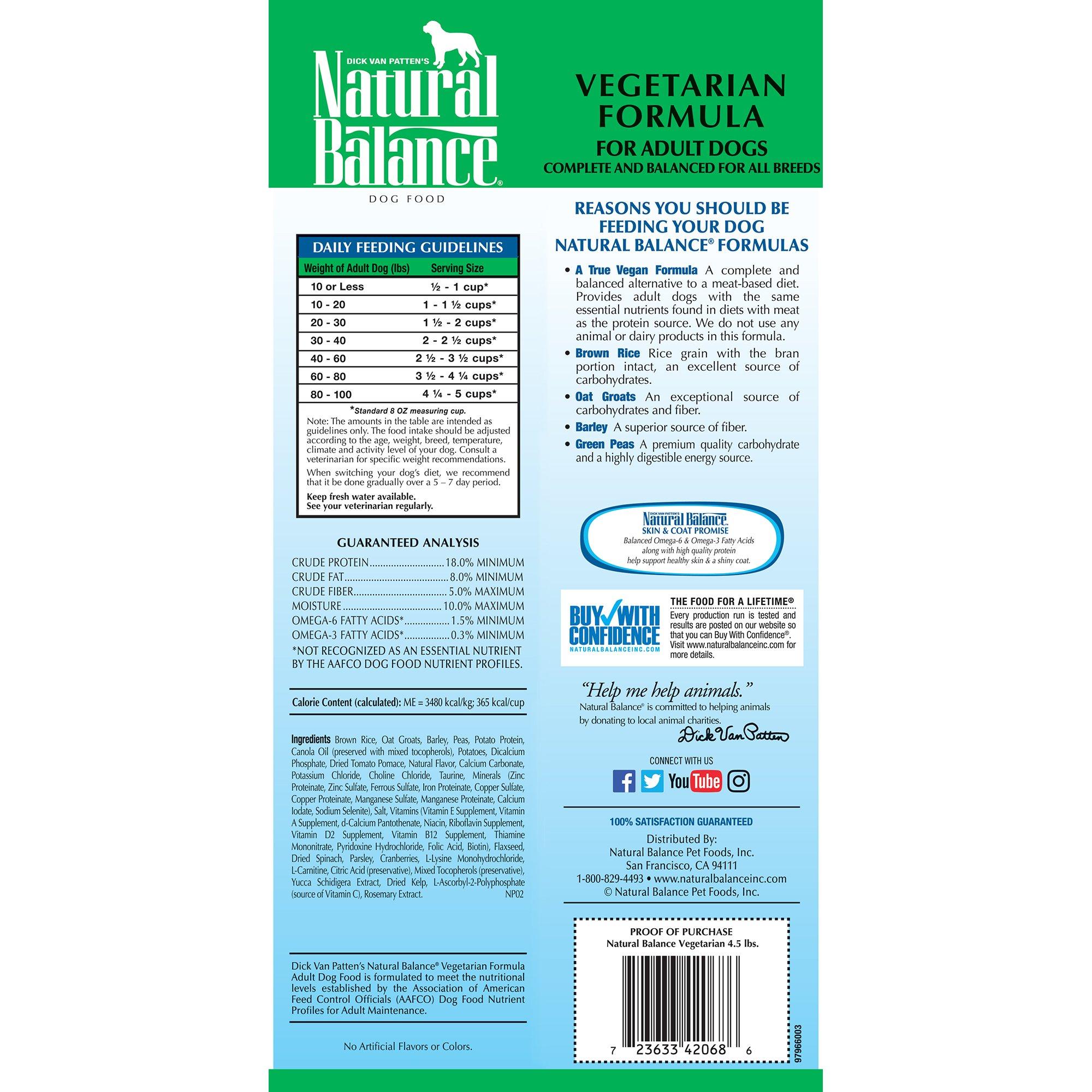 Natural Balance Vegetarian Formula Dry Dog Food, 4.5-Pound by Natural Balance (Image #2)