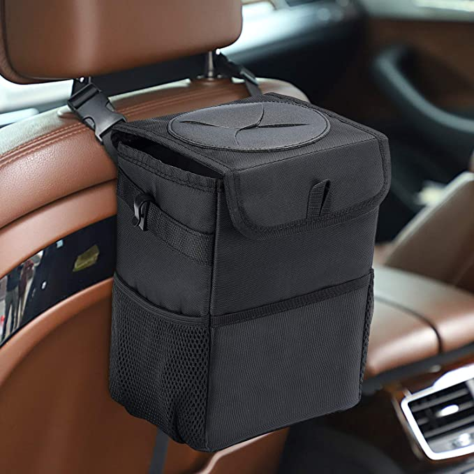 Koxvzec Car Trash Can Garbage Bag with Lid and Storage Pockets Leak-Proof Vinyl Multipurpose Truck Organizer with Hooks 2pack