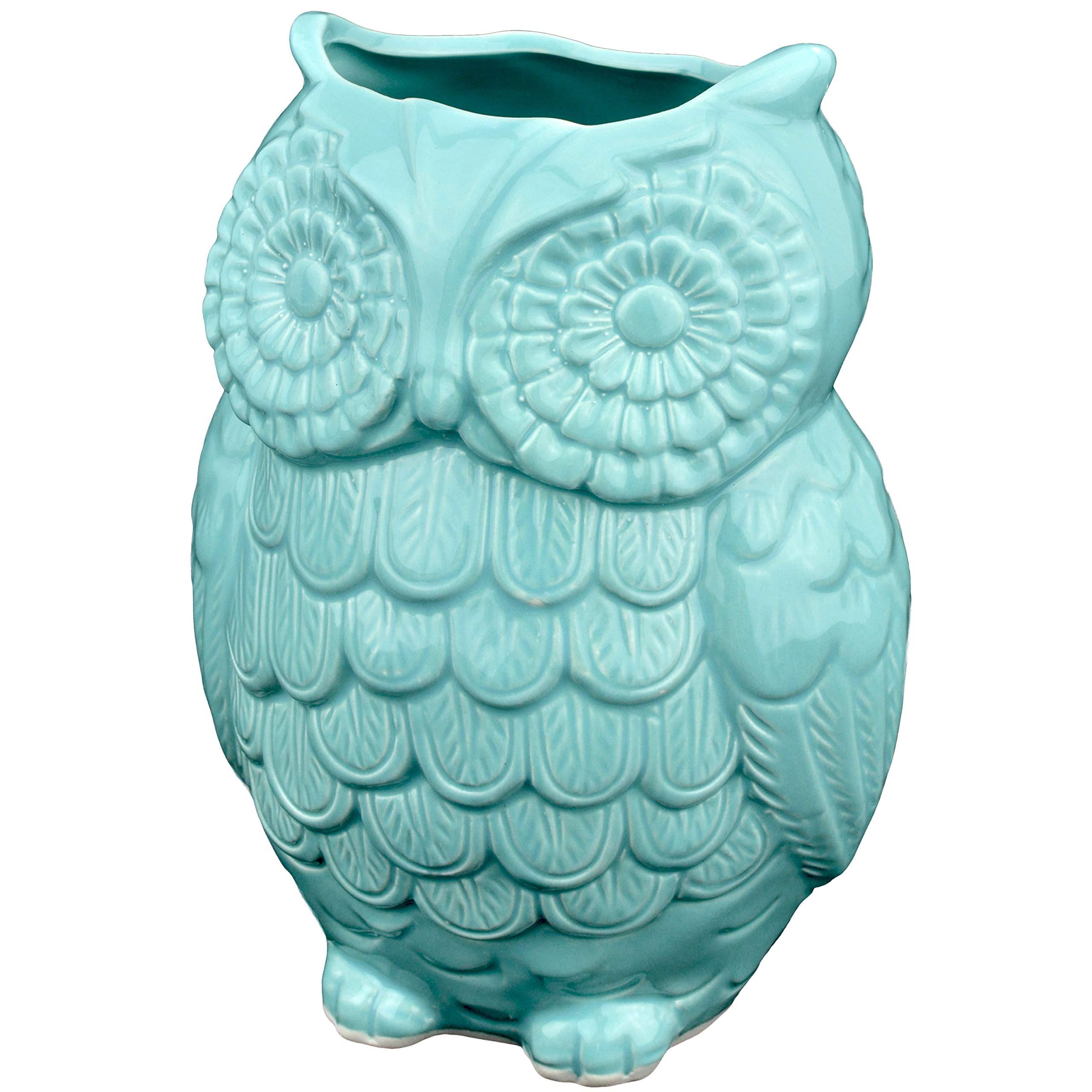 MyGift Aqua Blue Owl Design Ceramic Cooking Utensil Holder/Multipurpose Kitchen Storage Crock by MyGift