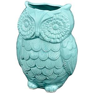 MyGift Aqua Blue Owl Design Ceramic Cooking Utensil Holder/Multipurpose Kitchen Storage Crock