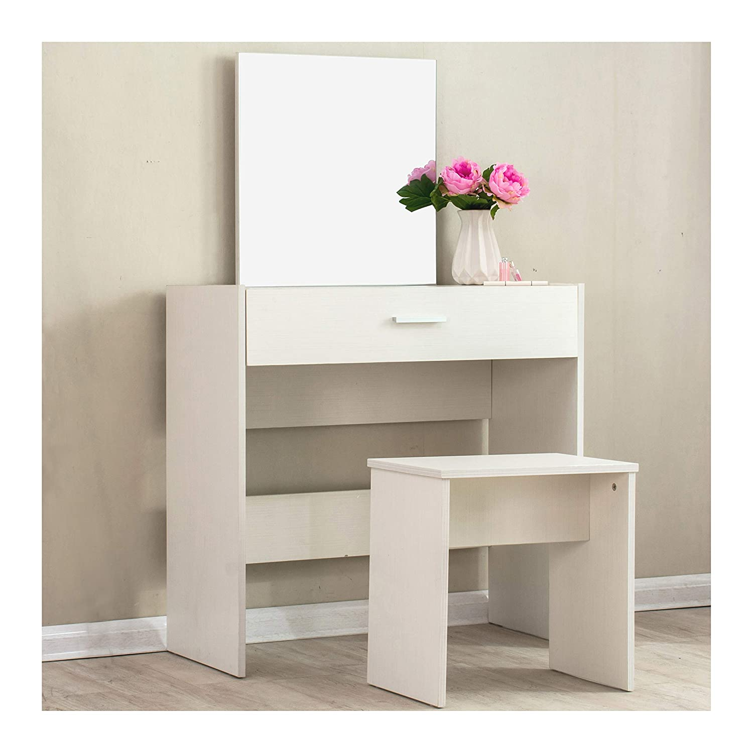 Cherry Tree Furniture Modern Design Large Mirror Vanity Dressing Table with Stool in Beige Colour