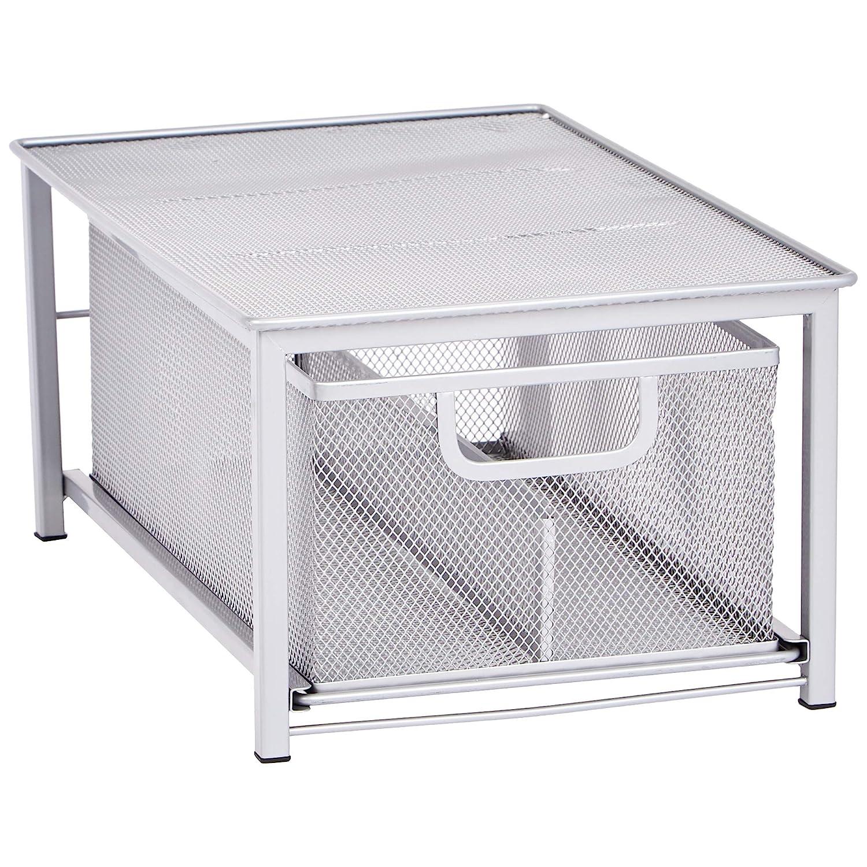 AmazonBasics Mesh Sliding Basket Organizer, Silver