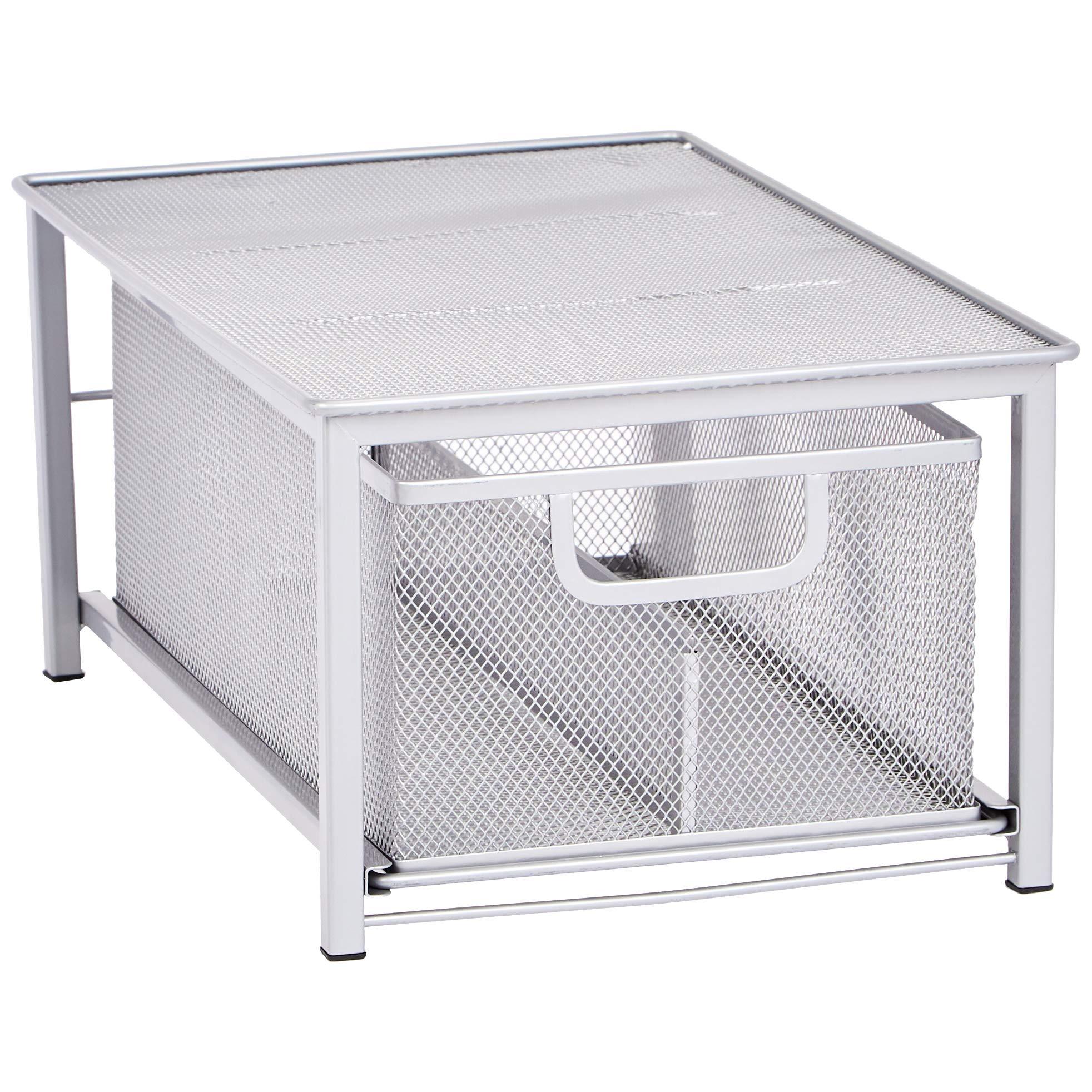 Amazon Basics Mesh Sliding Basket Drawer Storage Shelf Organizer, Silver