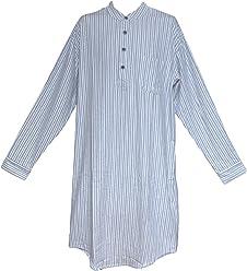 06096ce9d7 Lee Valley LV2 Blue Ivory Stripe Genuine Irish Flannel Nightshirt