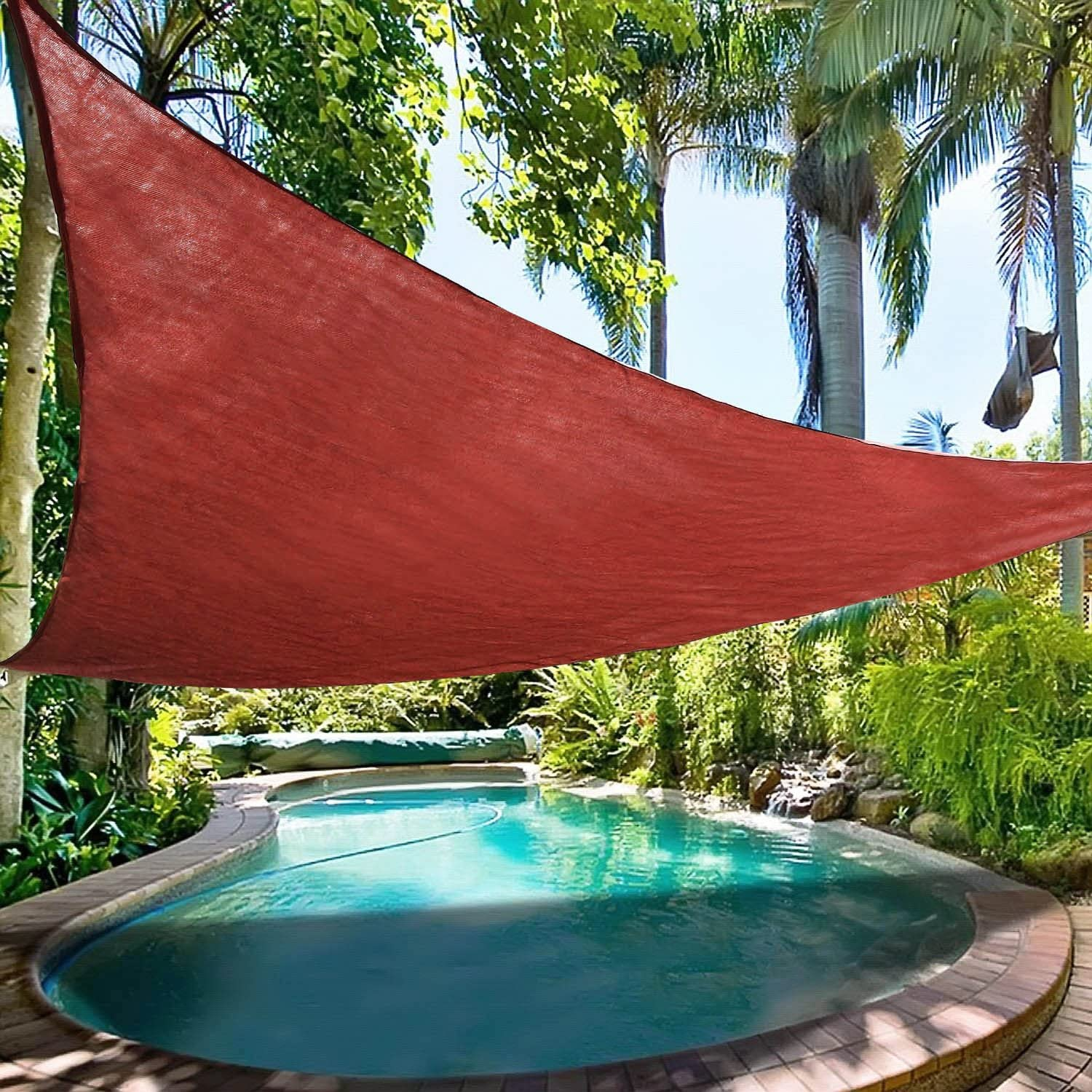 Ollieroo Shade Sail UV Block Fabric Patio Outdoor Canopy Sun Shelter with 5ft PE Ropes and Steel D-Rings 16.5x16.5x16.5ft Triangle Red