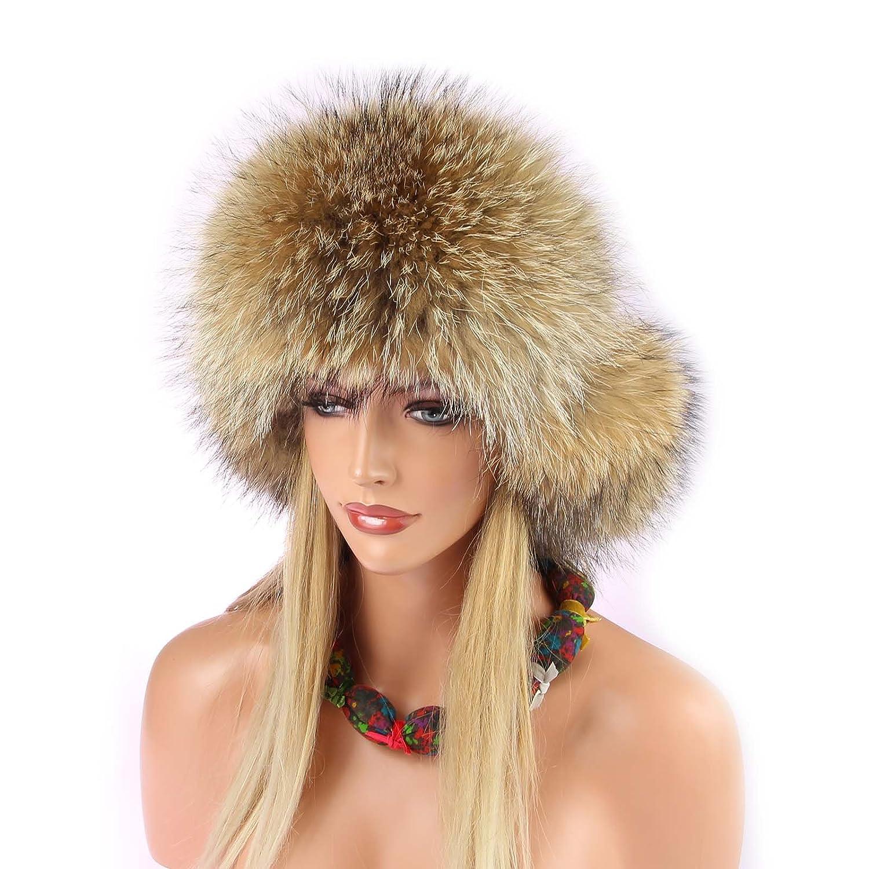 Damen Waschbär Mütze Pelzmütze Fellmütze Fuchs Fliegermütze Wintermütze Skimütze Fox Uschanka Polarmütze Russische Mütze EchtFell Naturtöne