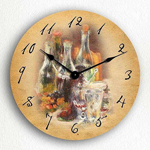 Wine Bottles Themed Classic Art 12 Wall Clock