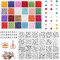 Tiokkss Bead Kits for Bracelet Making, 5200 Pcs 4mm Small Pony Seed Beads for Jewelry Supplies with Alphabet Letter…