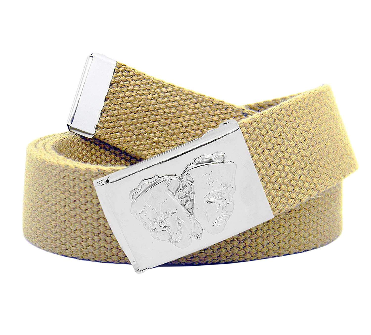 Mens Smile Now Cry Later Buckle with Canvas Web Belt