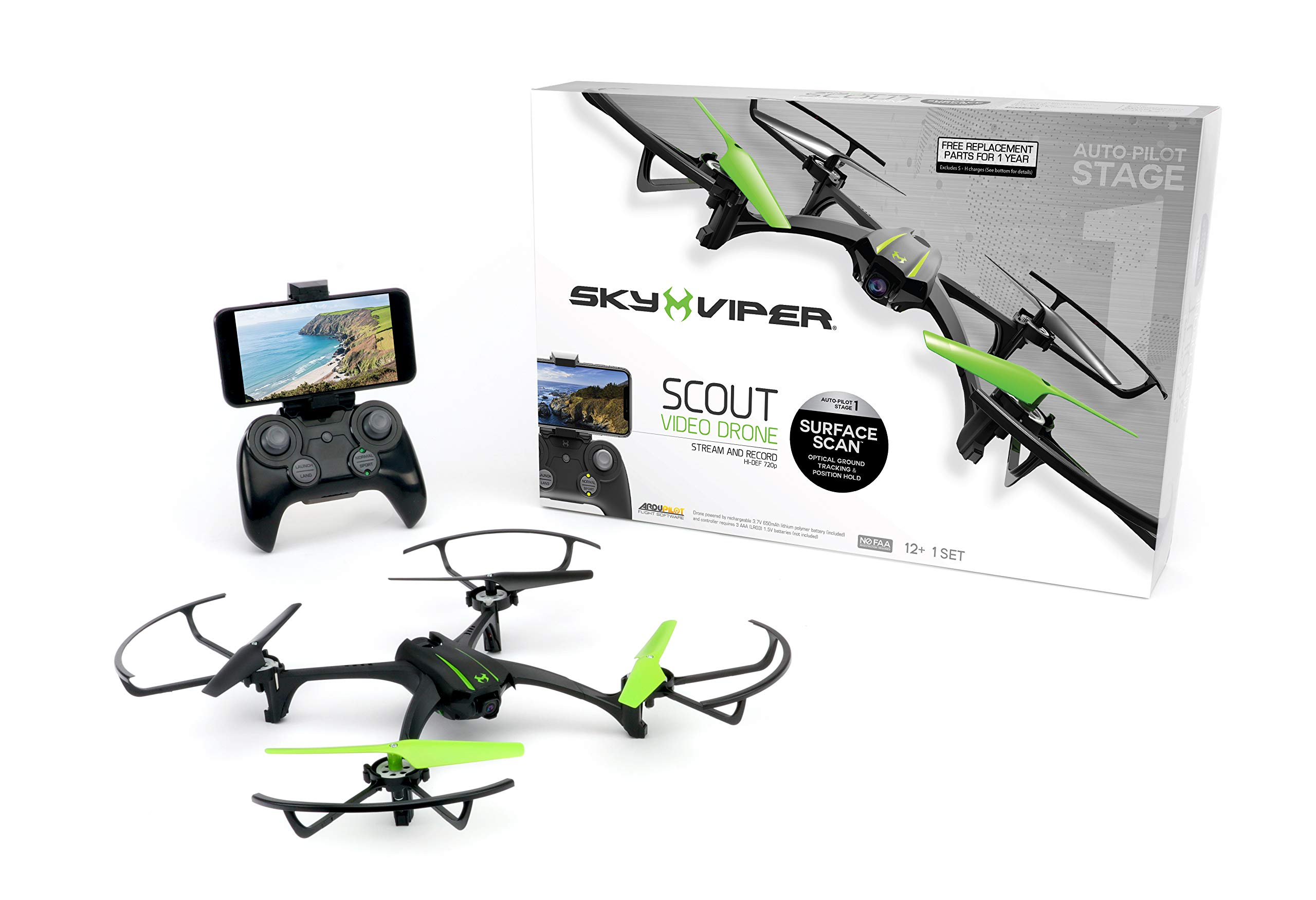 Sky Viper Scout Streaming Video Drone, Black/Green by Sky Viper (Image #1)