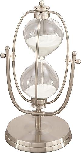 Deco 79 53425 Iron Swivel Hour Glass, 12 x 6 , Silver