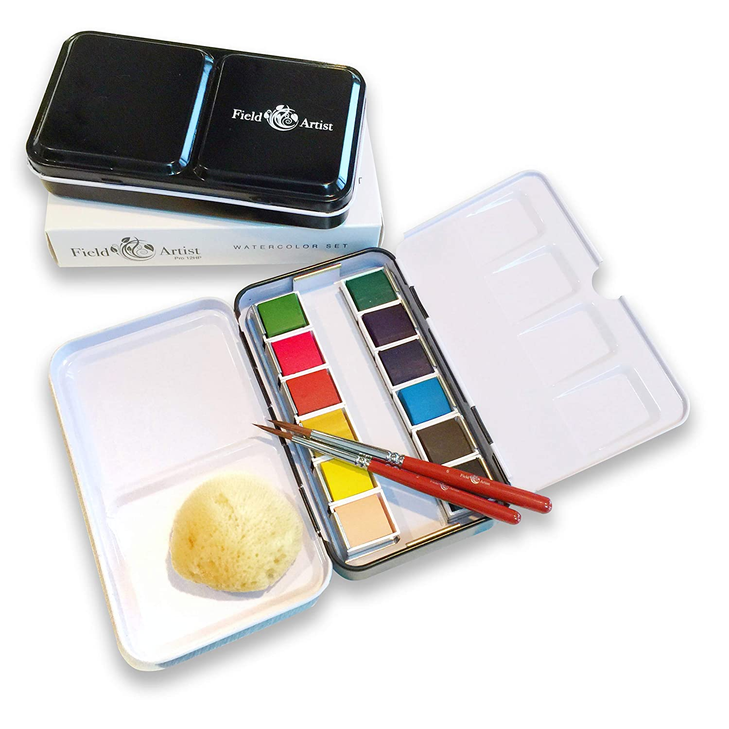 Field Artist Pro 12HP - Complete TRAVEL WATERCOLOR SET includes 12 Brilliant Half Pan Colors, 2 Custom Brushes, a Genuine Sea Sponge, a Classic Metal Field Box, all fits in your Pocket! UniverseArt