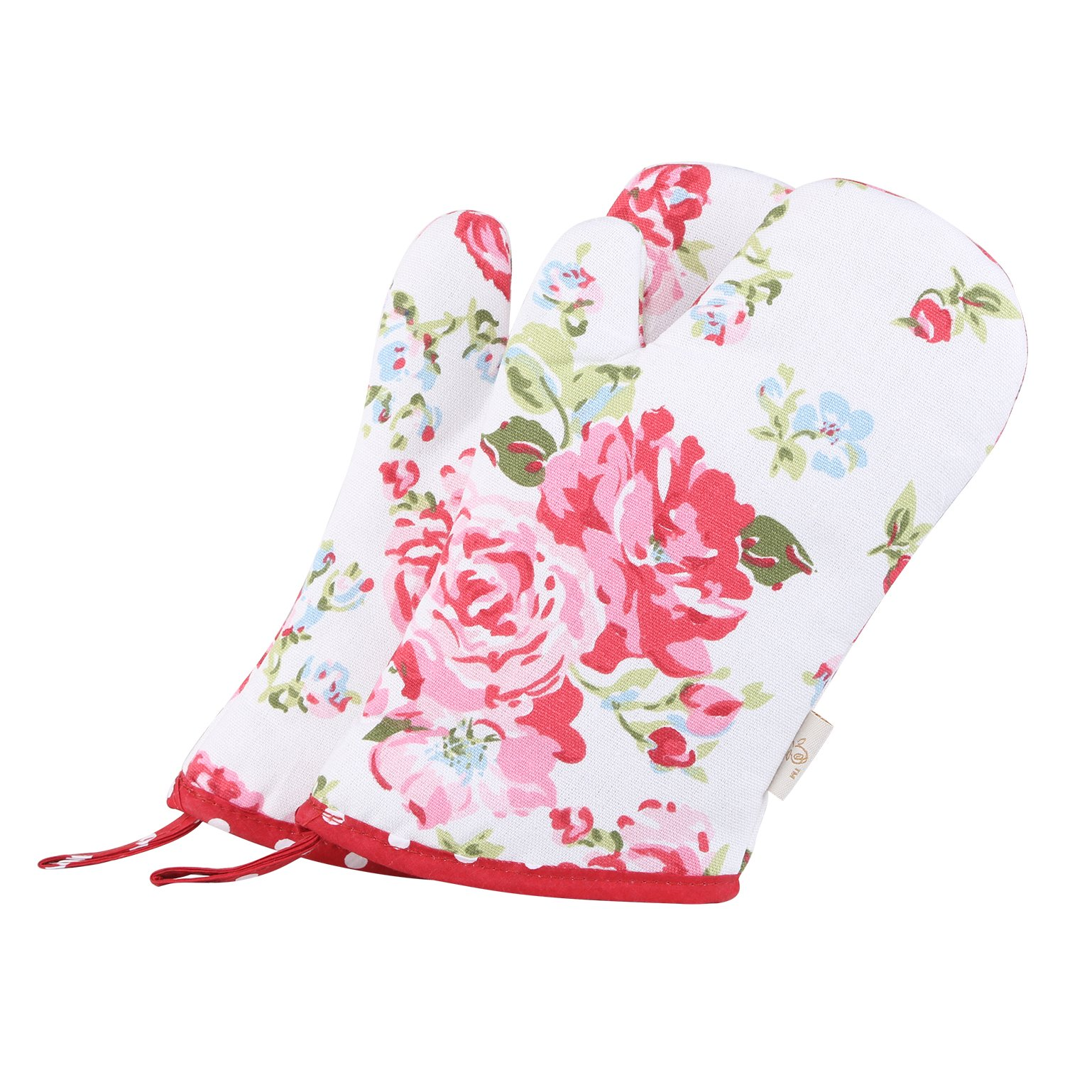 Neoviva Cotton Quilting Child Oven Mitts for Play Kitchen, Pack of 2, Floral Lollipop Red
