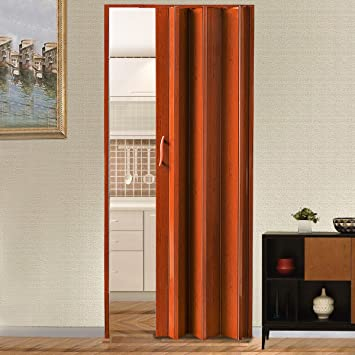 Puerta de acordeón plegable de calidad de color blanco marfil marrón brillante PVC con cerradura de 12 mm, marrón: Amazon.es: Bricolaje y herramientas