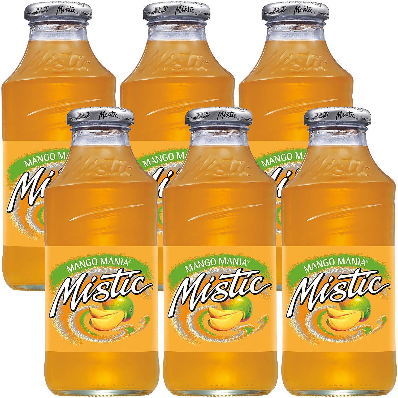 Mistic Mango Mania Drink, 16oz Glass Bottle (Pack of 6, Total of 96 Fl Oz)