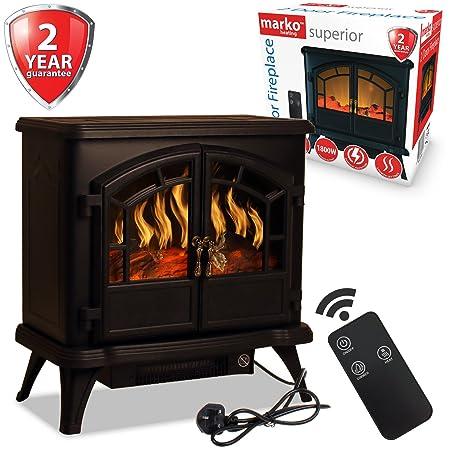 Marko Heating Electric Fireplace 1800w Double Door Fan Heater Flame