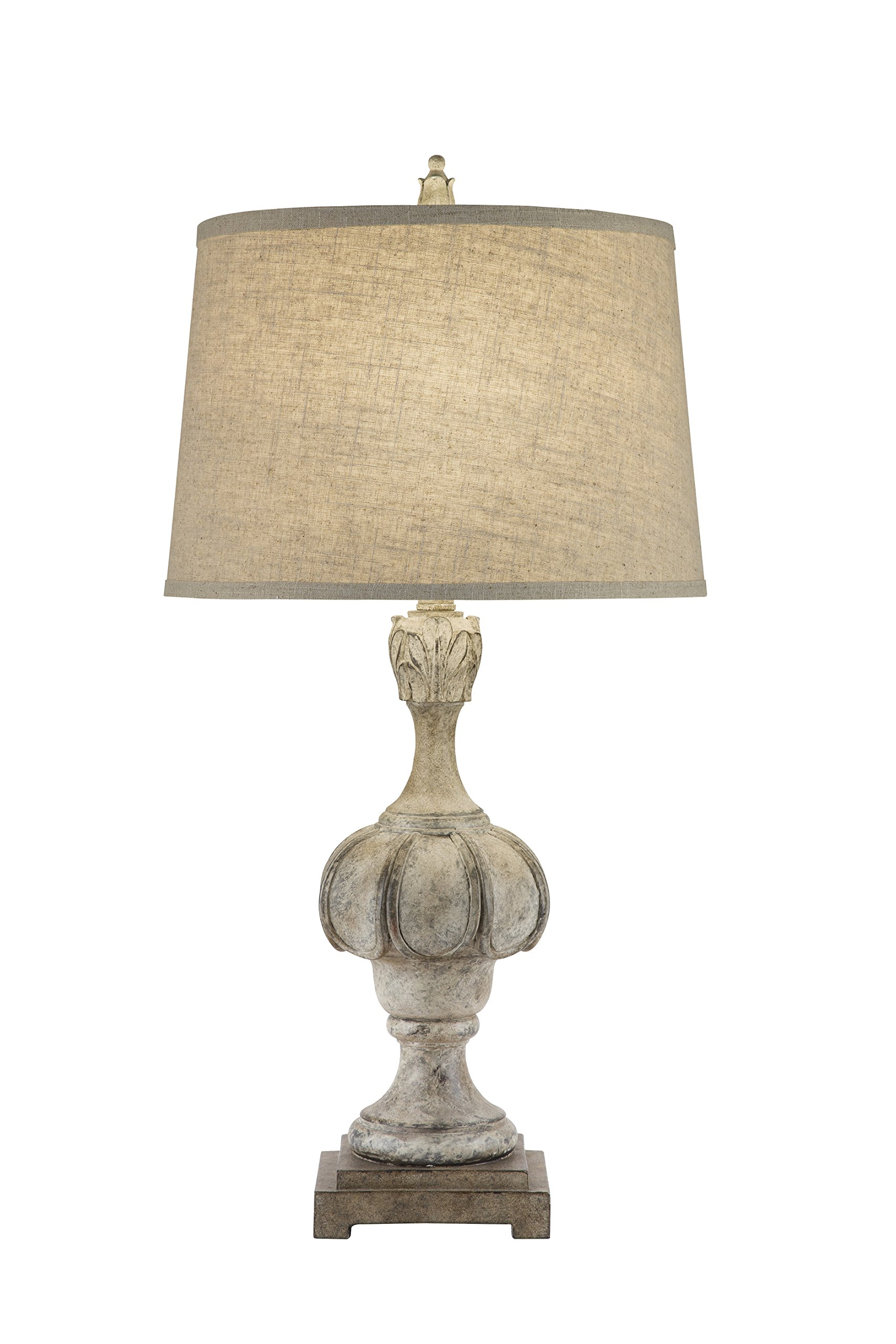 Catalina 19951-001 3-Way 29.5-inch Weathered Distressed Wood Inspired Table Lamp with Oatmeal Linen Modified Drum Shade with Cream Silken Liner, Bulb Included