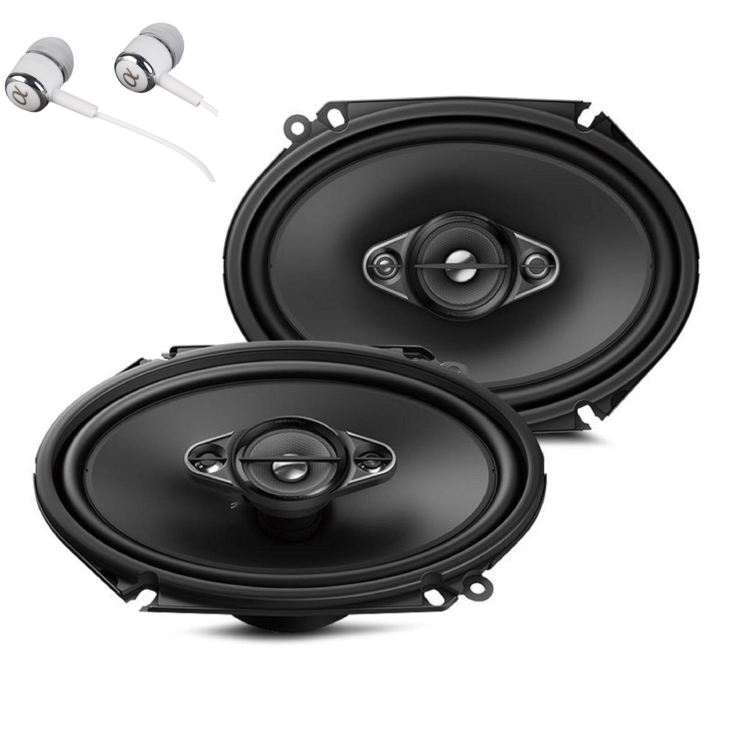 Pioneer TS-A6880F 6'' x 8'' 350 Watts Max Power A-Series 4-Way Car Audio Coaxial Speakers Pair with Fiber Cone Midrange / FREE ALPHASONIK EARBUDS by PIONEER