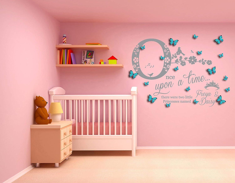 Personalizado Once upon a time dos vinilos artísticos de pared de vinilo, mural, calcomanía con mariposas personalizadas en 3D. Dormitorio, cuarto de niños. Hermanas mellizas: Amazon.es: Handmade