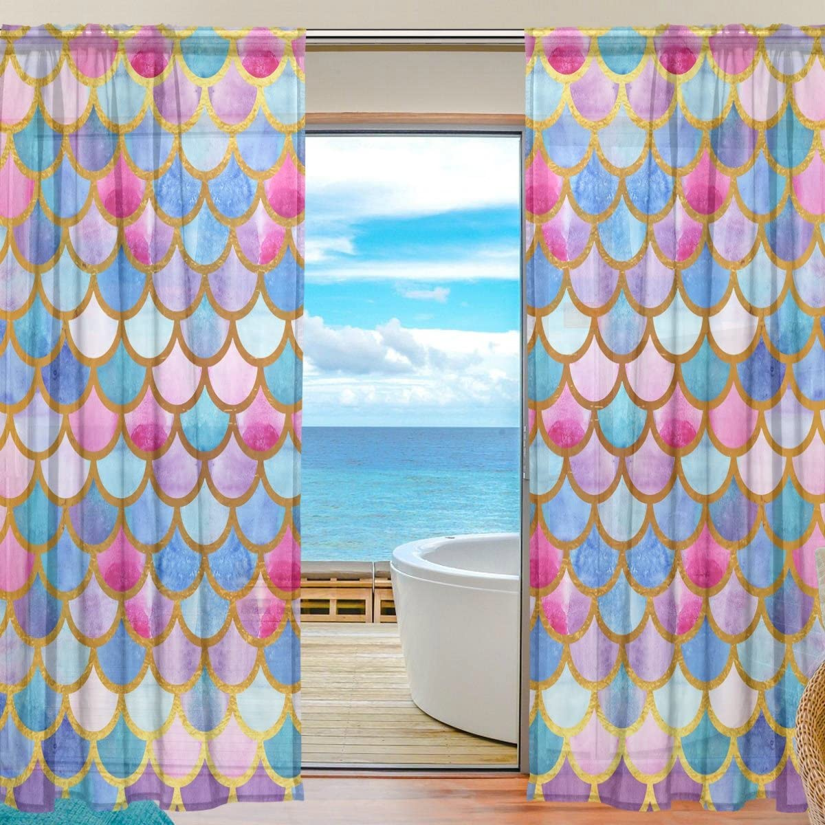 SEULIFE Window Sheer Curtain, Sea Ocean Animal Mermaid Fish Scales Voile Curtain Drapes for Door Kitchen Living Room Bedroom 55×78 inches 2 Panels