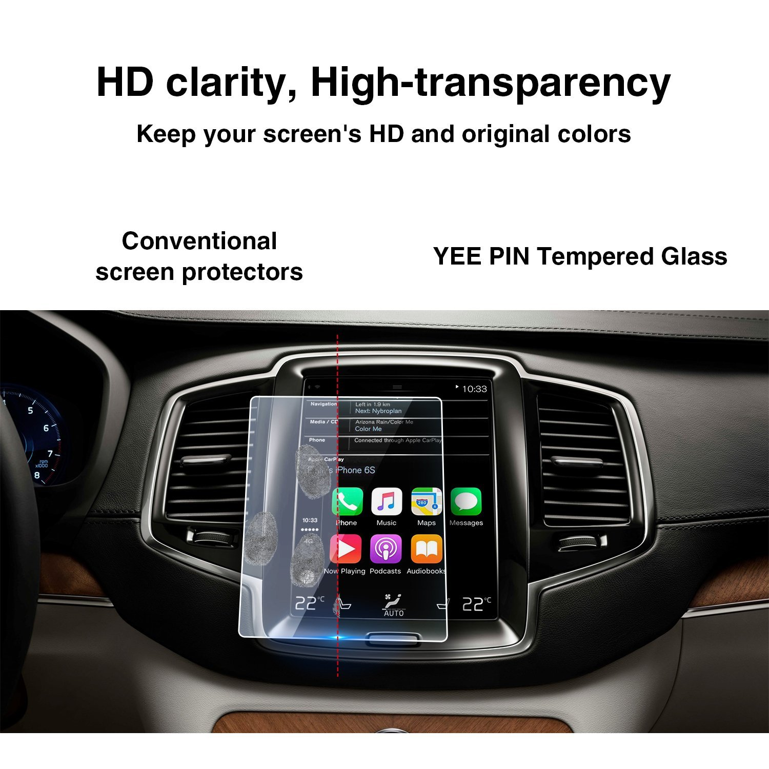 Anti-Explosion Easy to Clean /& Touch Sensitivity Screen Protector HXY YEE PIN 2016-2018 Volvo XC90 S90 Sensus Navigation System 8.7Inch Protection Film