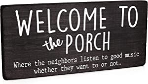Welcome to Our Porch Signs for Front Porch Decor Farmhouse - Back Door Porch Sign - Modern Rustic Outdoor Hanging Wood Decorations and Accessories for Home