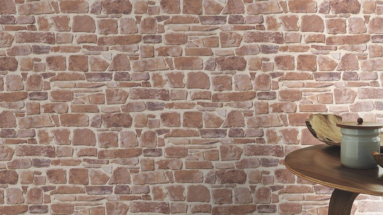 Rasch Tapeten 265613 PapierTapete Rasch Kollektion Steine /& H/ölzer braun