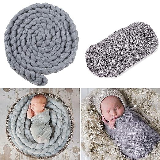 f89d619d34e Image Unavailable. Image not available for. Color  Aniwon 2PCS Baby Photo Props  Long Elastic Cotton Newborn ...