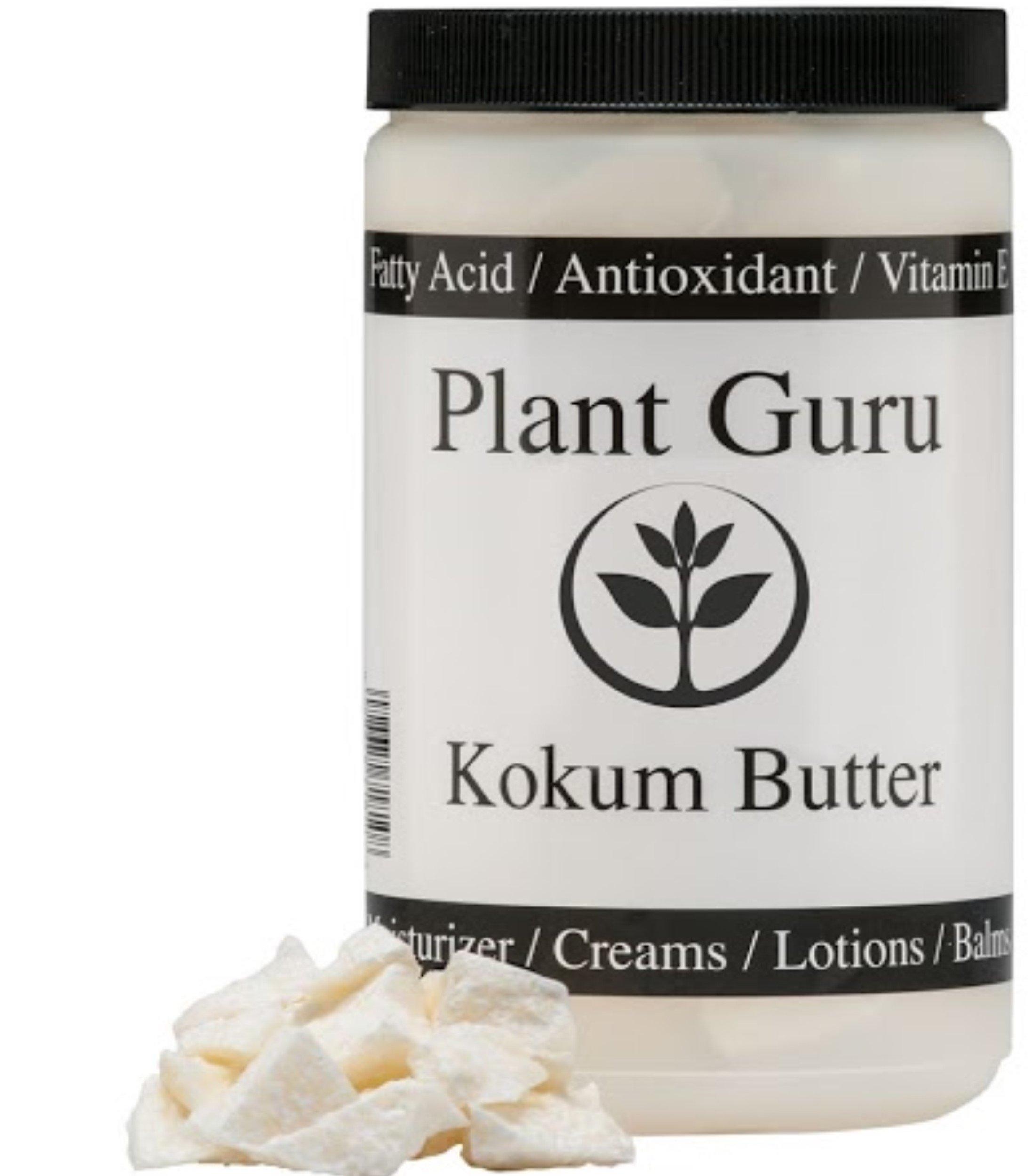 Raw Kokum Butter 16 oz / 1 lb. 100% Pure Natural Cold Pressed Great Skin, Hair, DIY Creams, Lotion, Lip Balm, Soap Making (HDPE Food Grade Jar)