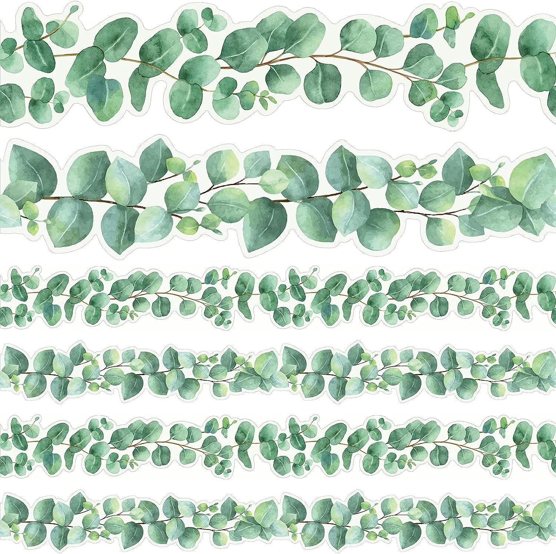 Eucalyptus Die-Cut Border Trim Bulletin Board Classroom Bulletin Wall Decor Greenery Trim Border Decor Wall Decals Border Tropical Leaves Greenery Wall Decoration Green (78.7ft)