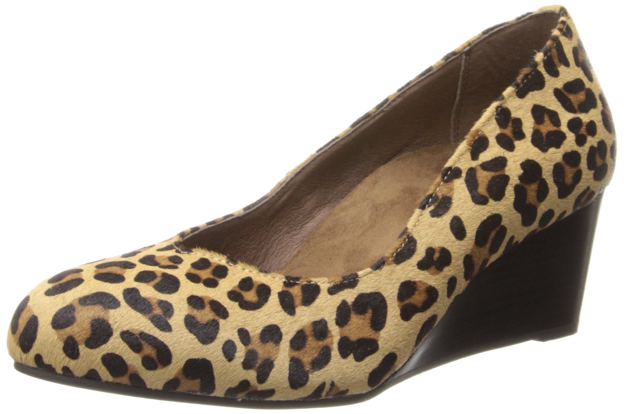 Vionic Antonia Womens Leather Wedge Tan Leopard - 8
