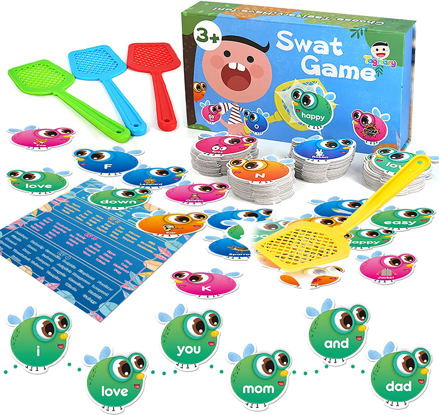 Sight Words Game for Kids Learning Educational Alphabet Toy Cards Game for Age 3,4,5,6,7 Children Visual, Tactile and Auditory Learning Toys for Boys Girls.(122Pcs)