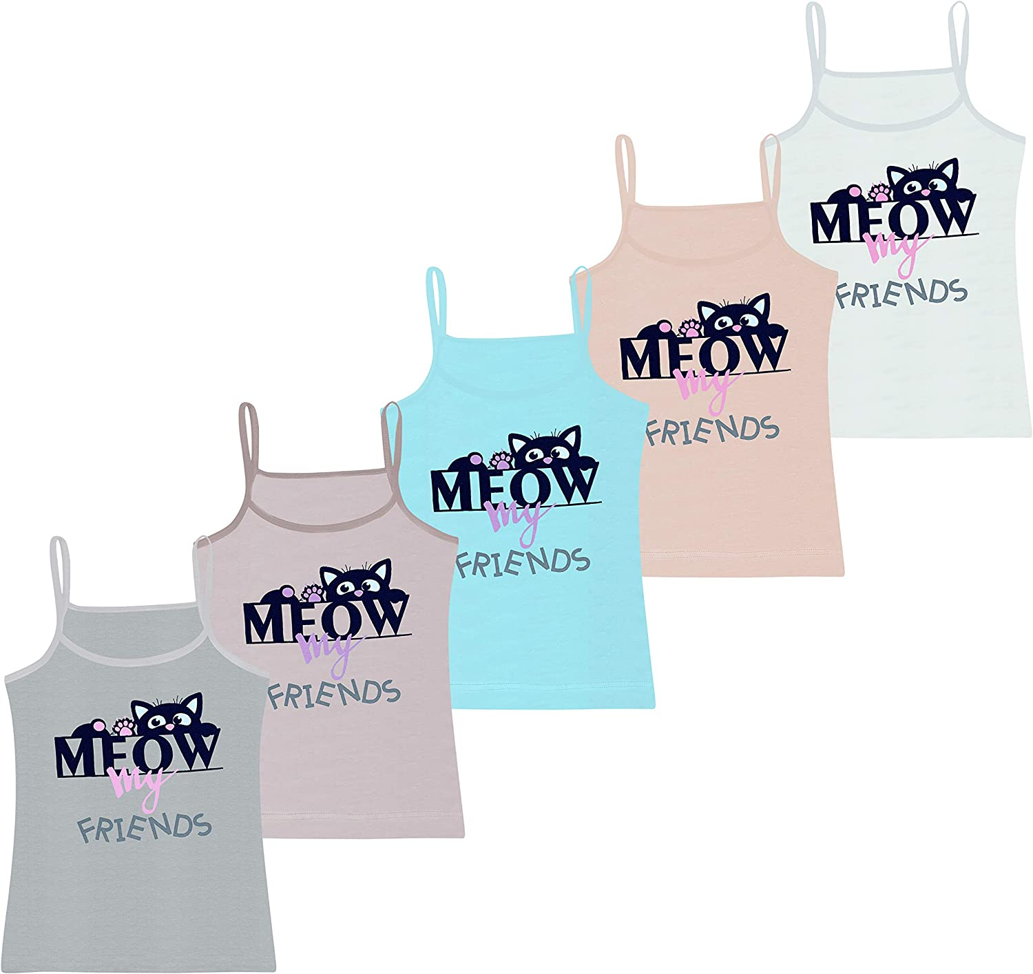 Pack of 5 Cotton Girls Vests Comfortable and Soft on The Skin Sleeveless Spaghetti Strap Tops with Different Motifs