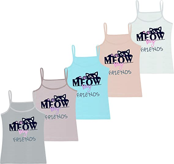 Comfortable and Soft Sleeveless Spaghetti Strap Top with Different Motifs Pack of 5 Girls Vests Sizes 2-13 Years Cotton