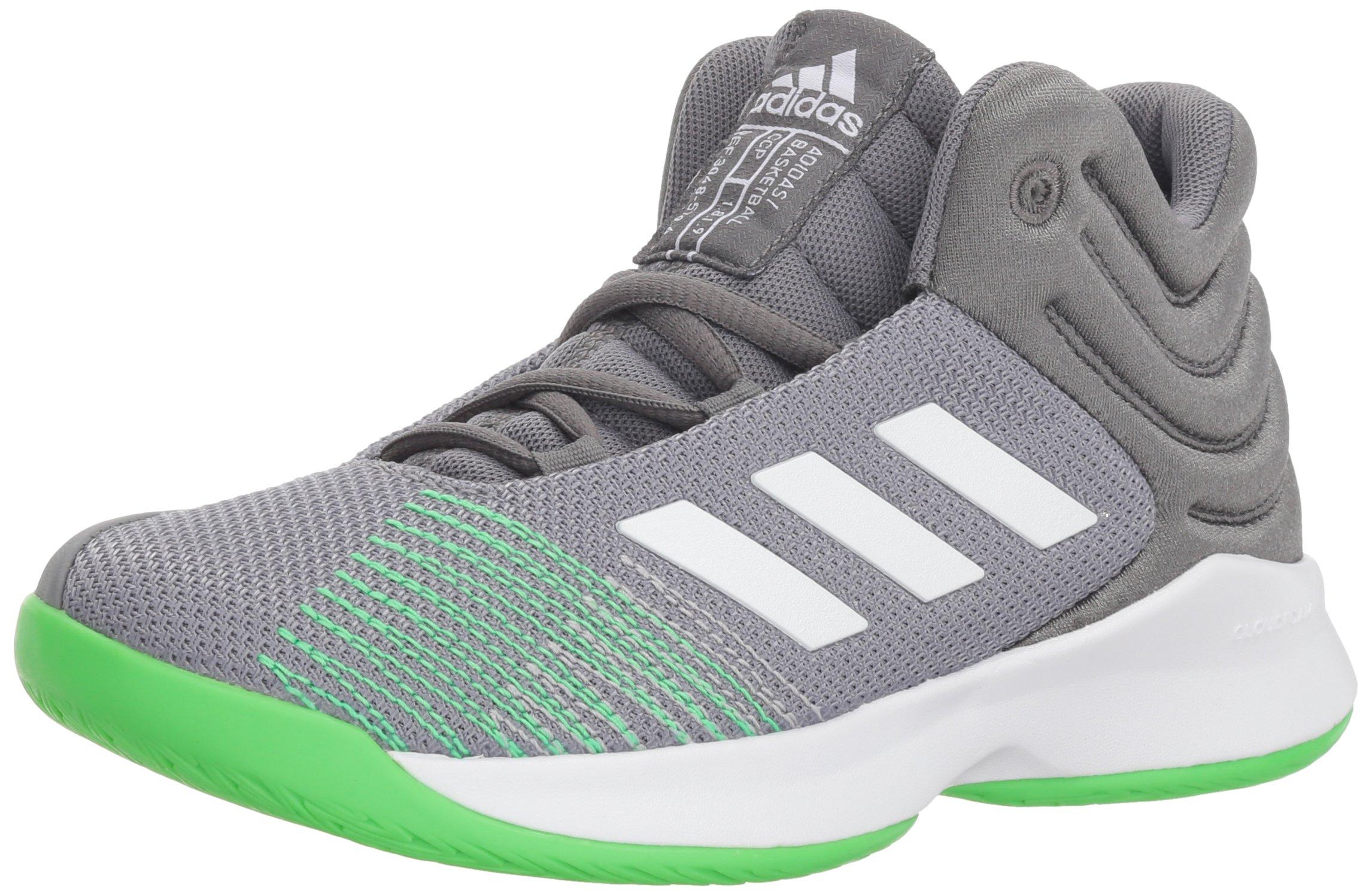 adidas Unisex Pro Spark 2018 K Basketball Shoe, Grey Four/White/Shock Lime, 1.5 M US Little Kid