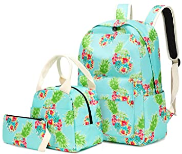 125202028755 Teen Girls Backpack School Bookbag Set with Lunch Box and Pencil Case  Pineapple Daypack
