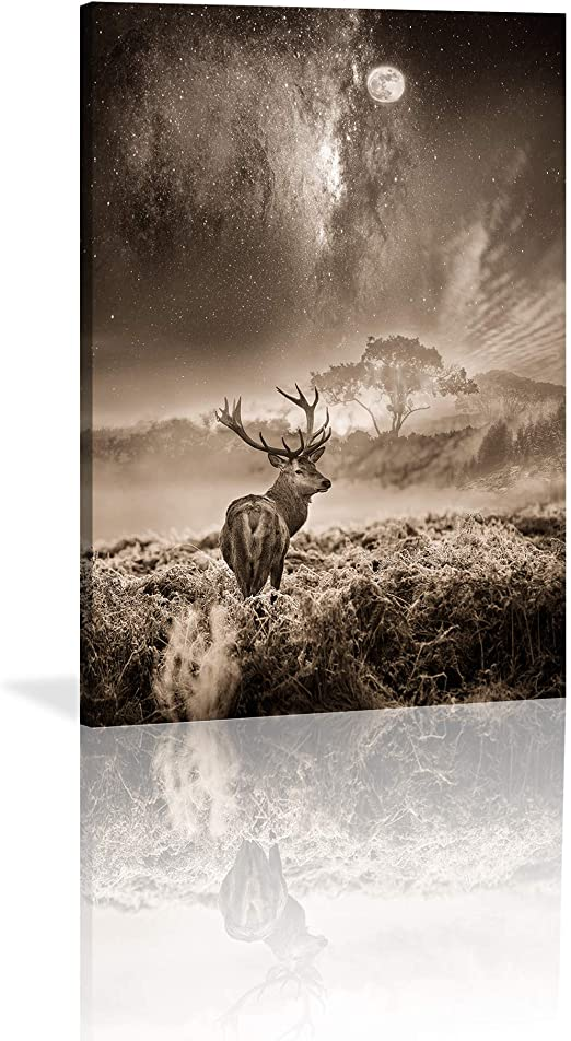 Reindeer Animal Stretched Canvas Print Framed Wall Art Hanging Home Office Decor
