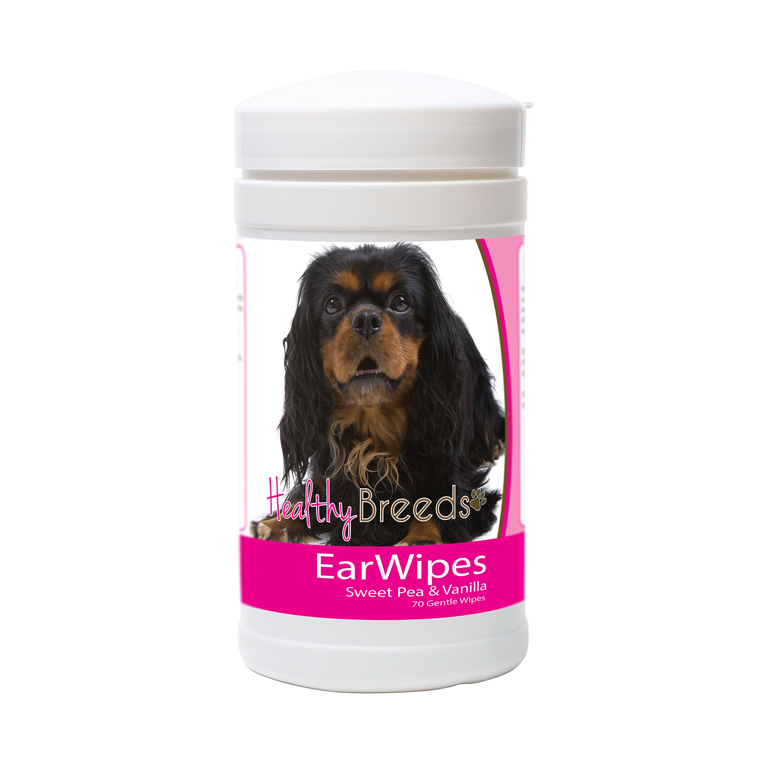 Healthy Breeds Dog Ear Cleaner Wipes for English Toy Spaniel - OVER 200 BREEDS - Easier than Ear Wash Drops Solution or Rinse - 70 Wipes