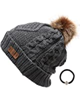 Women's Winter Fleece Lined Cable Knitted Pom Pom Beanie Hat with Hair Tie.