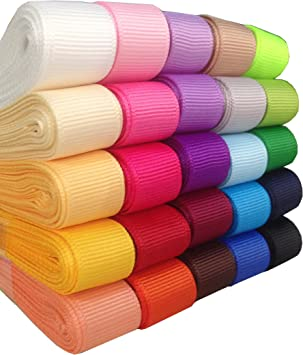 25 yds 7//8 in grosgrain ribbon 1 yd  25 colors Lot all solid  Lot  Q