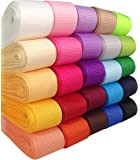 "DUOQU 25 Colors 75 Yards (25*3yd) 5/8"" Solid Grosgrain Ribbon Multicolour Valued Packing"
