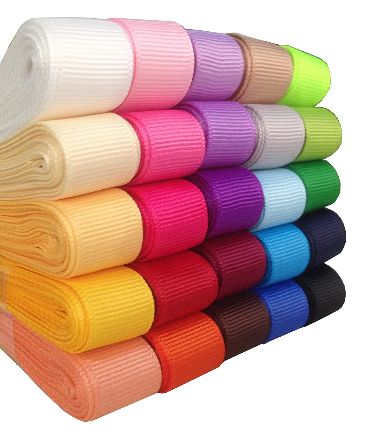 25x3yd 3//8 Solid Grosgrain Ribbon Polyester 25 Colors Assorted DUOQU 75yd