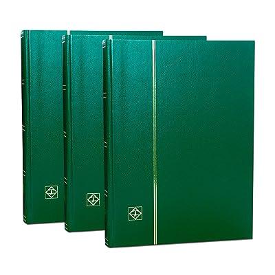 3 Classeurs pour timbres Leuchtturm, 64 pages fond noir, 3 couvertures vertes