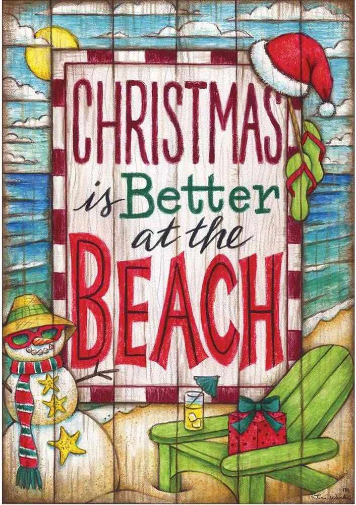 """"""" Christmas Is Better At the Beach """" - Double Sided, Garden Size, 12 Inch X 18 Inch Decorative Flag"""